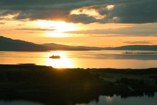 Sunset over Firth of Lorn during Oban walk up Pulpit Hill