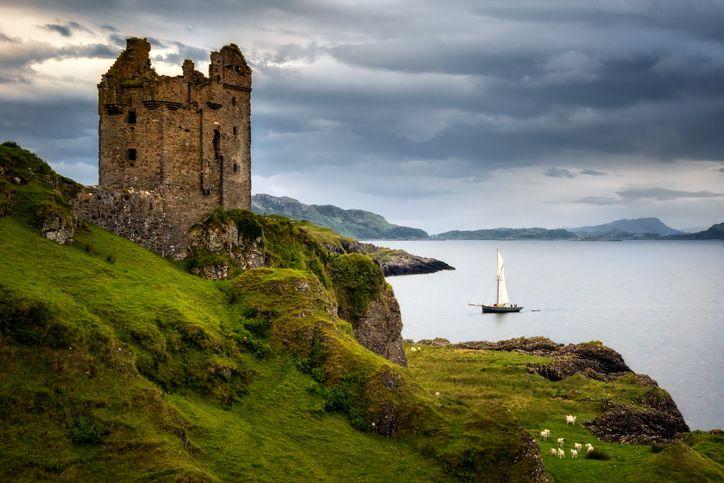 Gylen Castle seen walking near Oban on the Isle of Kererra