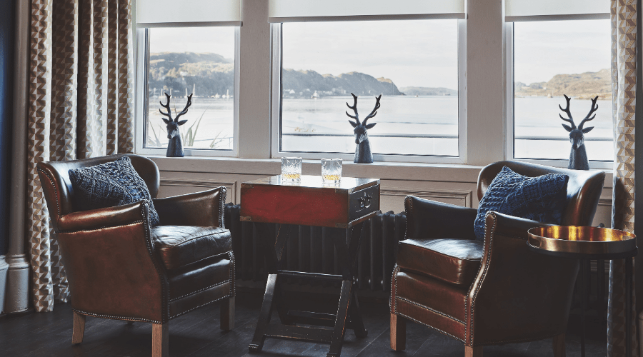Seating area by the window with views towards Kerrera