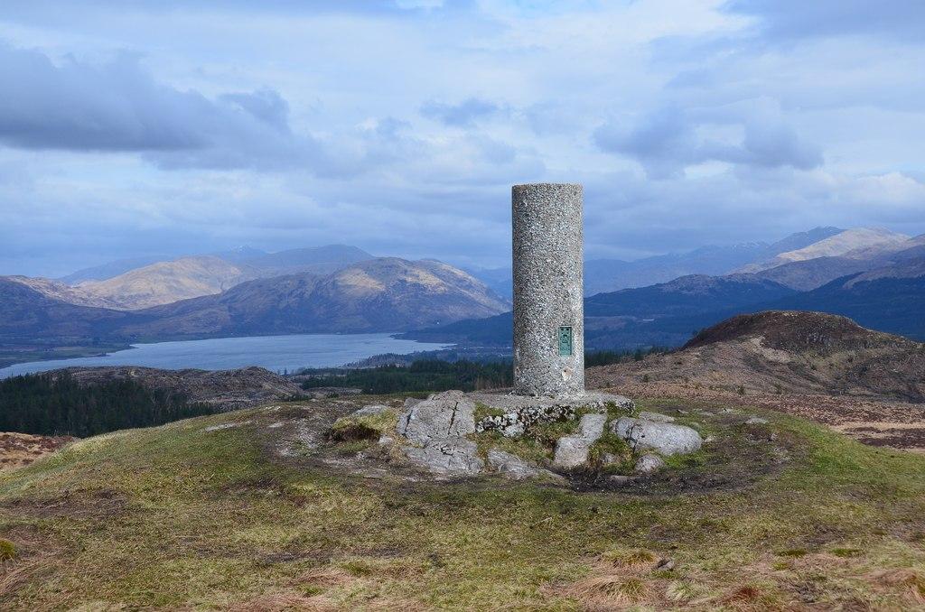 Trig Pillar on Beinn Lora Walk Near Oban